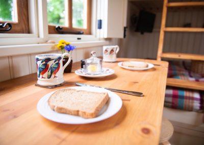 Morndyke Shepherds Huts Toast on Table