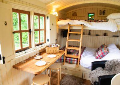 Morndyke Shepherds Hut Interior Dining Bench