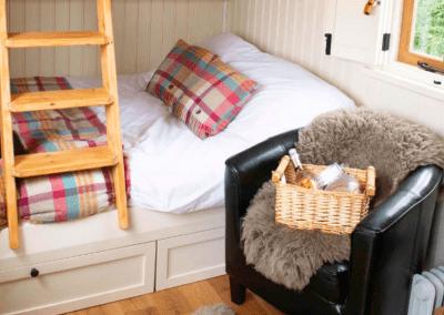 Morndyke Shepherds Huts Interior Bed