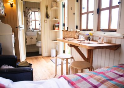 Morndyke Shepherds Huts Interior View to Bathroom