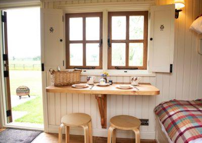 Morndyke Shepherds Huts Interior with Entrance Door