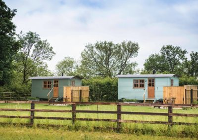 Morndyke Shepherds Huts Two Huts Exterior Long View